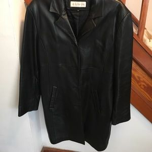 Black leather long blazer